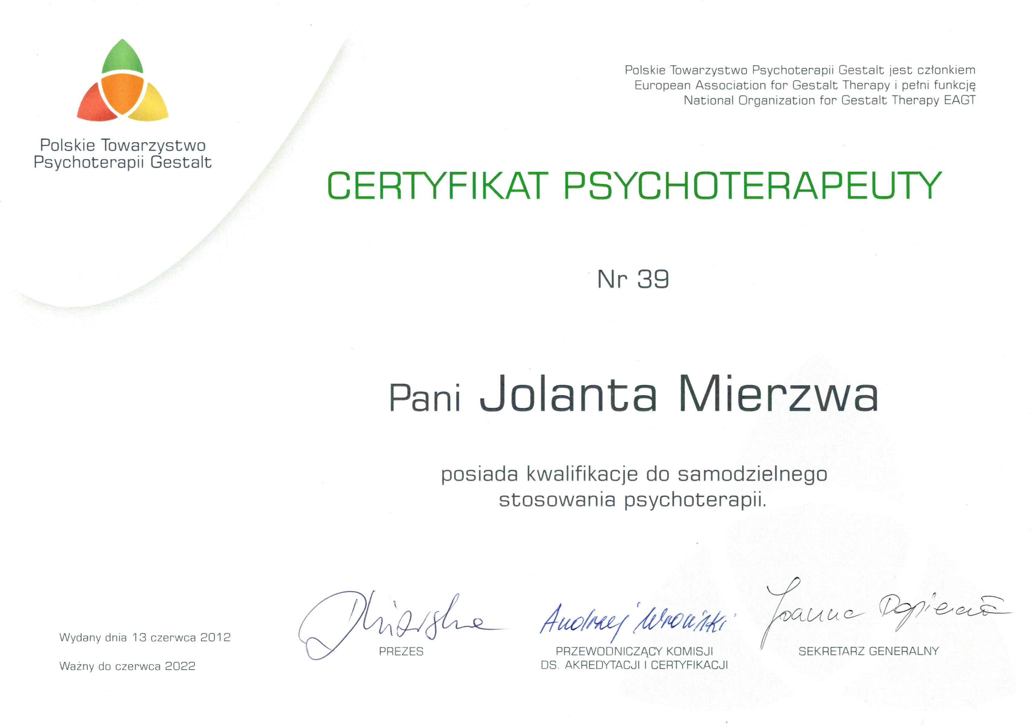 psychoterapeutka gestalt certyfikat