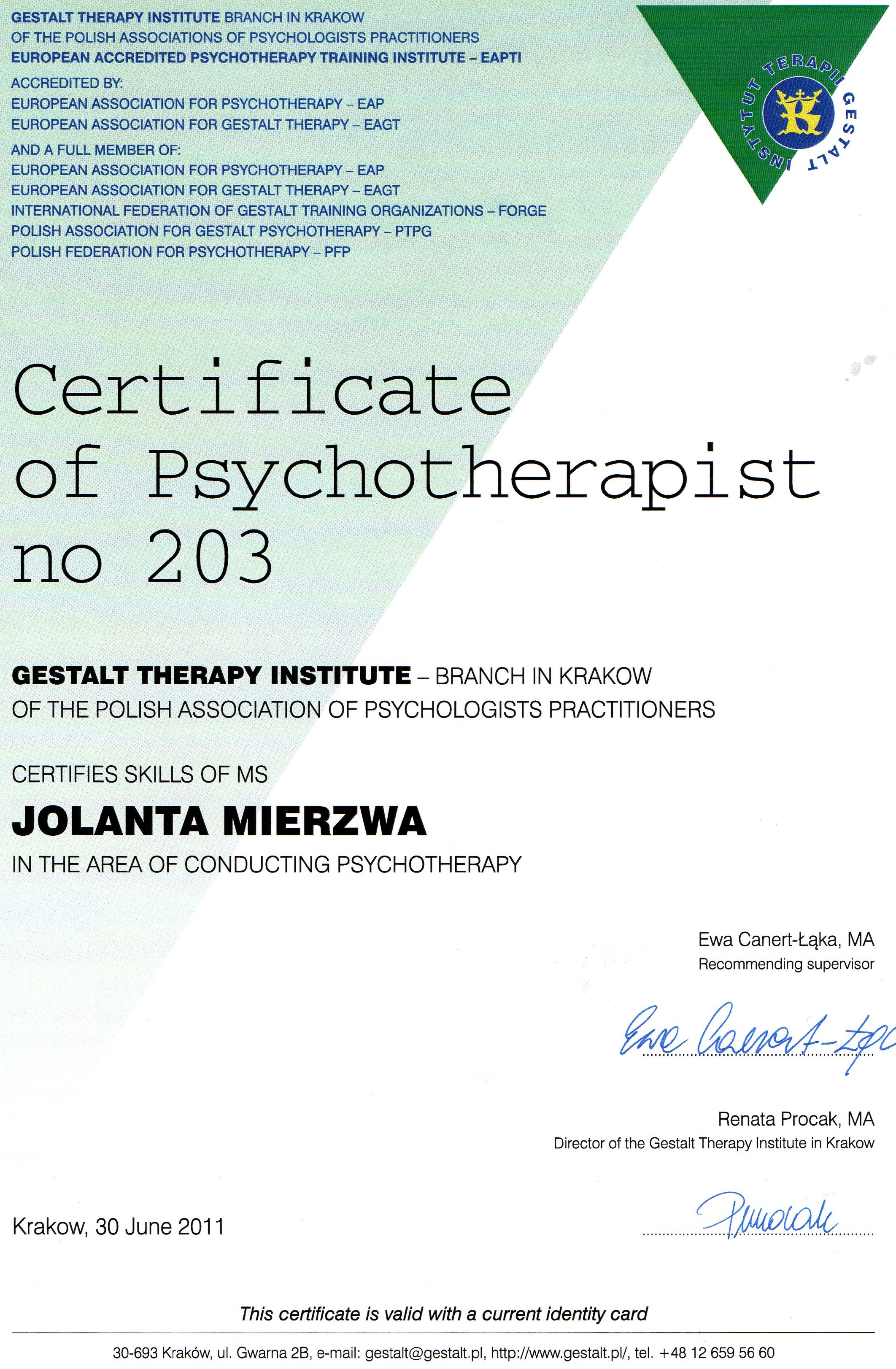 psychotherapy certifikcate