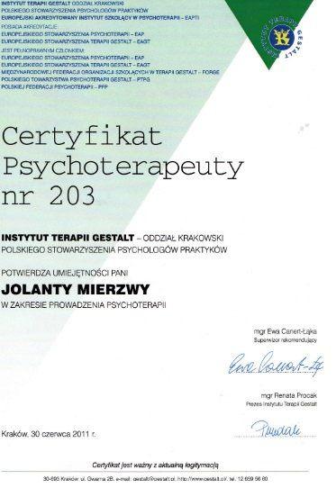 psychoterapia certyfikat